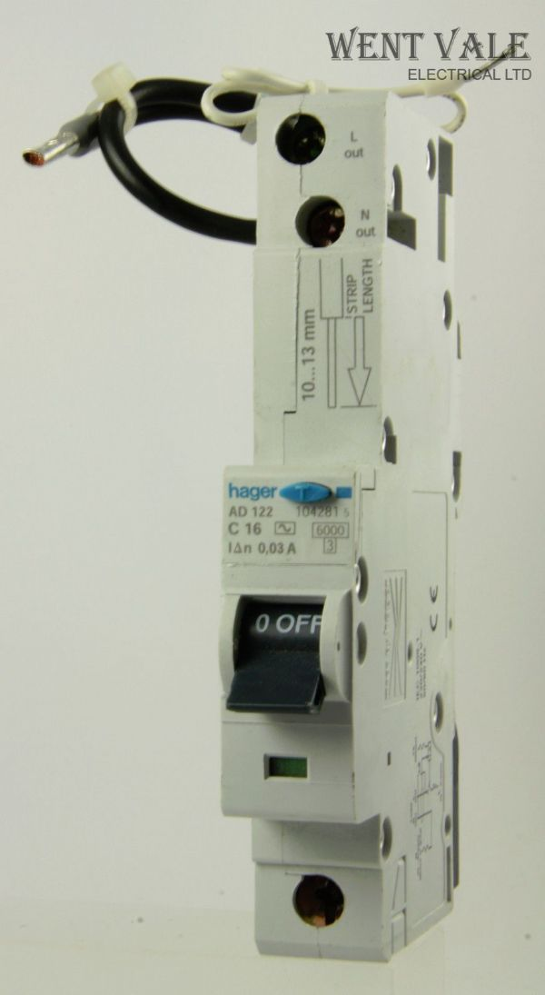 Hager - AD122 - 16a 30mA Type C Single Pole RCBO Used